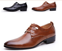 Cheap Black summer new brown leather dress business casual British toe head men's shoes senior hair stylist groom wedding shoes