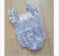 baby lace rompers lots - 2016 Infant Baby Rompers Toddler Girl Floral Printing Jumpsuits Kids Summer Clothing Cute Babies Lace Romper Small Girls One Piece