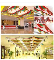 Wholesale Christmas Flags for exquisite Beautifully Decorated Ceiling Decoration Waves Bunting Christmas New Year Decorative banners
