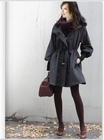 Wholesale Korean Winter Women s long puff sleeve Coat hooded Trench outerwear With Hat Black