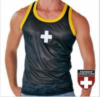 army wrestling singlets - Package Edge Breathable Mesh Thin Gauze Men Undershirts Vest Tight Sexy Shaping Sport Wrestling Singlet Undershirt