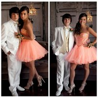 Wholesale 2016 Short Mini Beaded Crystal Cocktail Dresses Lovely A Line Tulle Party Gowns vestido de anos curto Prom Rhinestone Party Dresses