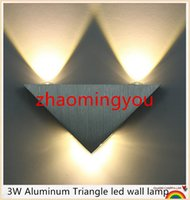 Wholesale 3W Aluminum Triangle led wall lamp AC85 V high power led Modern Home lighting indoor and outdoor decoration light