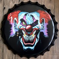 Wholesale 40cm Round Beer Bottle Cap Iron Painting Wall Decor Bar Coffee Club Metal Poster Plated