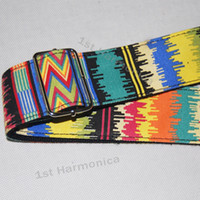 Wholesale New twill Africa pattern Acoustic Guitar Strap bass banjo adjustable Genuine leather end