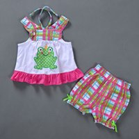 Wholesale Casual Check Shirt Girl - kids clothes summer 2016 brand children clothing Baby Girl's clothes sets Fashion Sleeveless check printing shirt +shorts suit