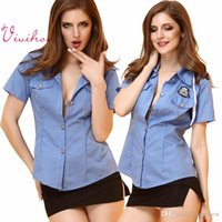Wholesale Sexy Police Officer Uniform Women Blue Shirt Police Cap Skirt Three Pieces Police Cosplay Costumes Erotic Role playing Game Sexy Set