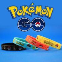 Wholesale 50 Poke Go Silicone Bracelets Kids Wristbands Soft Silicone Wrist Straps Colors Figures Kids Toys Kids Gift