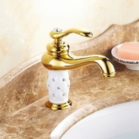 Wholesale Gold Bathroom Basin Faucet Brass Crystal Single Lever Tap New Luxury Single Handle Hot And Cold Mixer Tap Deck Mounted