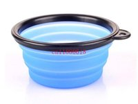 Wholesale 50pcs Colors Silicone Pet Dog Cat Feeding Bowl Collapsible Water Dish Portable Feeder Puppy Travel Bowls