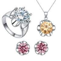 avenue jewelry - 2016 Star Harvest New Brand Jewelry Sets luxury Customed flower shaped red color crystal avenue jewelry with sterling silver For present