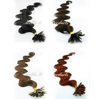 Wholesale U tip Peruvian Hair Prebonded Keratin Human Hair Extensions quot g s g set Bellahair Body Wave Wavy DHL