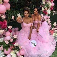 beautiful elegant prom dresses - Pink Prom Dresses Long Bridesmaid Gown Off shoulder Appliques Tulle Dresses Zipper Back Elegant Beautiful Hot In US Junior