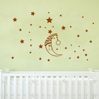 PVC baby star wall decor - DIY Moon Stars Baby Vinyl Wall Stickers nursery Kids room decor decals Mural Art