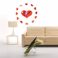 Wholesale Newly Modern Style Sweet Heart DIY Mirror Wall Clock Wall Sticker Home Decoration Best Promotion