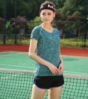 Wholesale 2016 New female LvKong short sleeved running fitness dance Outdoor sports cultivate one s morality for the quick drying T shirt big size