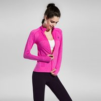 Wholesale Woman Speed Dry Jogging Coats Zip Top Clothing Running Exercise Fitness Wear Yoga Running Outwears Drop Shipping