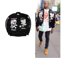 big bang clothing - 2017 new men KANYE WEST Japanese Yokosuka velvet embroidered jacket eagle skull big bang yeezus jackets men clothing Size M XL