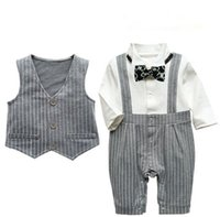 Boy Spring / Autumn 100% Cotton 2016 spring autumn newborn baby clothes kids outfits infant outwear baby boy romper boys mock 2pcs set waistcoat suit with bowtie ROB40