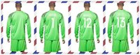 belgium prints - Cheap Uniforms Kit European cup Belgium COURTOIS MIGNOLET GILLET Green Goalkeeper Soccer Jersey Long Sleeve Tracksuits