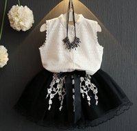 korean fashion clothing - 2016 New Summer Kids Girl Clothing Fashion Lace Sleeveless Shirt Tosp Skirt Sets Children Korean Princess Clothes Outfits A11368