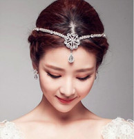 Tiaras&Crowns act prices - New high end handmade pearl diamond frontal act the role ofing drops tire crown bride brows brow chain factory price