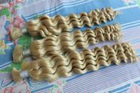 al por mayor extensiones de cabello súper humanos-Super Deal 613 Blonde Curly Brasil Extensión en Bulto Barato 8A Deep Wave Brasil Cabello Humano Bulk Para Trenzas No Adjunto Sara365