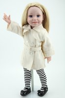 beige blonde hair - Full Vinyl American Play Doll Lovely Girls Toys For Kids Playmate With Blonde Hair In Beige Coat Beret