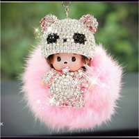 Wholesale panda Monchichi furry ball key chain Birthday gifts fashion ornament set auger covered car pendant accessories