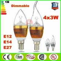 Wholesale 4x3W W Cree Led Candle light bulbs E12 E14 E27 base dimmable led candelabra bulb lamp lighting v v warm nature cool white