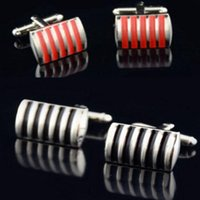 baked shirts - Cuff Links Red Black Stripe Rectangle Cuff Links for shirts lacquer bake Cufflinks For French cufflinks wedding Best Fathers Day Xmas gift