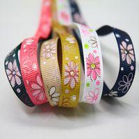 Wholesale Fashion Headband Ribbon Candy Color Floral Print DIY Headbands Ribbon Y mm Webbing