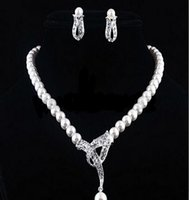 Wholesale 2016 Elegant Faux Pearl Crystal Necklace Earrings Jewelry Set For Wedding Party Gift