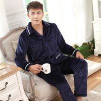 Wholesale men Pajamas Sleepwear Coral Fleece Flannel Bathrobes Robes Men high quanlity Thickening Bath male winter pajamas set