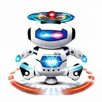 Wholesale 360 degree Rotation Smart Space Electric Robot Dancing Music Light Toy Children Gifts for years old toys Robots toys