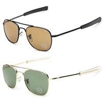 american optical glasses - 2016 New Army MILITARY AO Sunglasses American Optical Glass Lense Alloy Frame Quality Sunglass Oculos De Sol Sun glasses