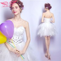 Wholesale AnXin SH White feathers evening dress diamond Bra will show annual dinner short paragraph princess white toast featheres wedding dress