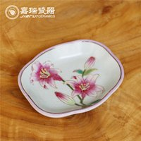 Wholesale Fashion Pastoral New Design Soap Dish floral and birds pattern Porcelain Dish Original Chinese bathroom Accessories