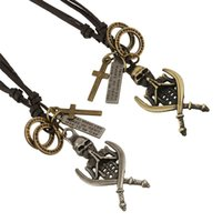Wholesale retro antique skull pendant necklace cross dagger letter skeleton necklace round cowhide chains for boyfriend christmas gift