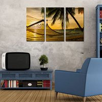 beautiful sunset pictures - 3 Picture Combination Wall Art Palm Trees On A Beautiful Beach At Sunset Landscape The Picture For Home Modern Decoration piece