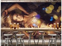 belle wall sticker - 3d wallpaper custom photo non woven mural wall sticker Sexy belle nightclub KTV painting picture d wall room murals wallpaper