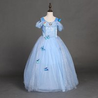 american kids butterfly - snowflake diamond cinderella dress fancy dress costumes for kids blue cinderella gown Halloween baby girl butterfly dress in stock
