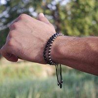Wholesale Anil Arjandas Men Bracelet Silver Plated mm Round Beads Braided Weaving Bracelet Bangle For Men Women