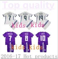 Wholesale 2016 Real Madrid kids Home Away Soccer Jerseys set camiseta Real Madrid Children RONALDO JAMES KROOS BALE football shirts