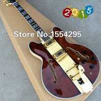 best guitar tremolo - Best Electric guitar Jazz Guitar Semi Hollow Body Archtop Guitar with Tremolo Spalted Flame Maple Top Gold Hardware