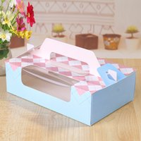 bakery decorations - 22X13 X6 cm bakery package blue pink window decoration Swiss roll cake box cookie dessert boxes hand portable box gift favors