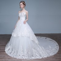 Wholesale deep v neck lace mermaid New style Korean strapless lace wedding dresses Evening Dress Sleeveless Floor Length NoneTrain Sleeveless