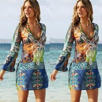 Wholesale Womens Beach Dresses Sexy Froal Print Deep V Long Sleeves Dress Fashion Chiffon Spring Autumn Dresses For Women