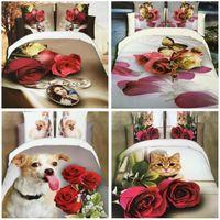 Wholesale hot D Flowers Reactive printing cotton bedding set duvet quilt cover bed sheet Pillowcase bedclothes Home Textiles AS102