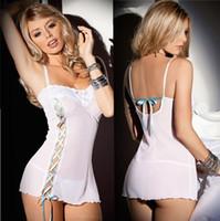 adult intimate lingerie - white lingerie sleepwear for women with Thongs bandage decoration transparent lace underwear set intimates short dress adult